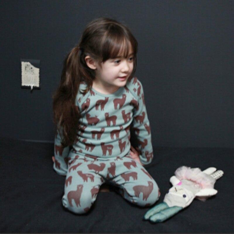 Girls Long Sleeves Cartoon Pajama Sets for Spring Fall 2017 New 100% Cotton Children Pyjamas Kids Girls Sleepwear Set CE078 цена