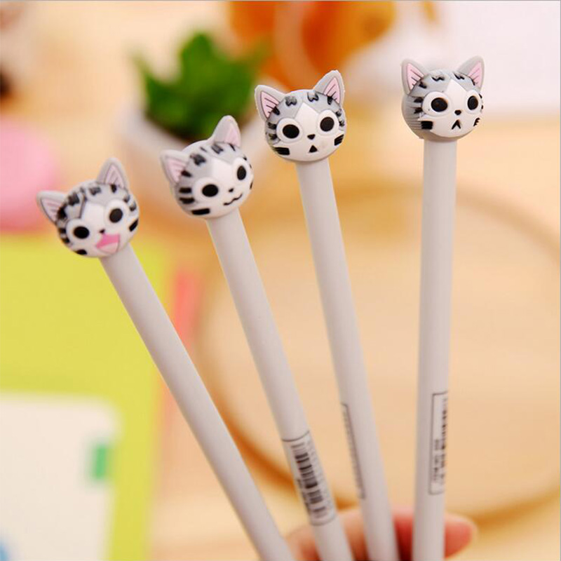 цена на 4 pcs/lot cute kitten gel pen kawaii stationery pens canetas material escolar office school supplies papelaria