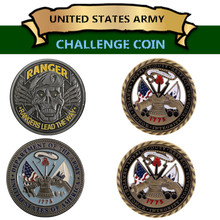 Free Shipping Mix 2pcs. US Army Ranger Challenge Coin + 1775 U.S. Core Values Military Commemorative
