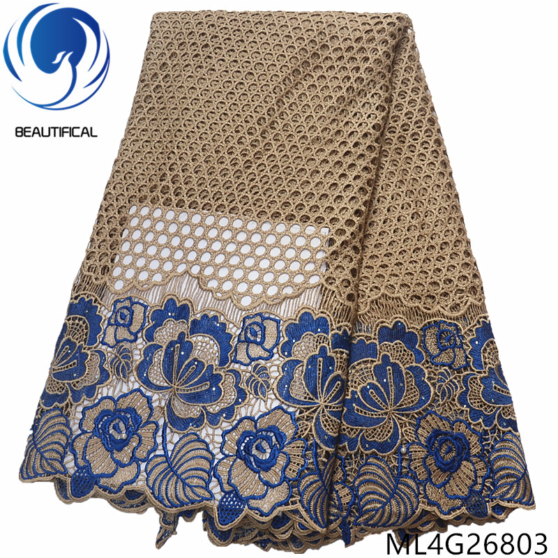 BEAUTIFICAL african lace fabric Latest design chemical lace embroidery fabric with beads water soluble lace stones ML4G268-1BEAUTIFICAL african lace fabric Latest design chemical lace embroidery fabric with beads water soluble lace stones ML4G268-1