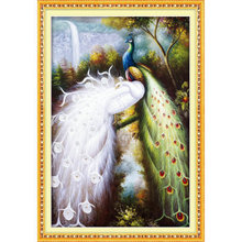 Kit for Needlework,DIY Cross stitch, Embroidery kit,forest love couple bird peacock print pattern Cross-Stitch animal  painting