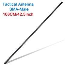 108cm usarmy SMA M 남성 듀얼 밴드 VHF UHF 접이식 전술 안테나 Icom Yaesu TYT MD 380 햄 라디오 워키 토키