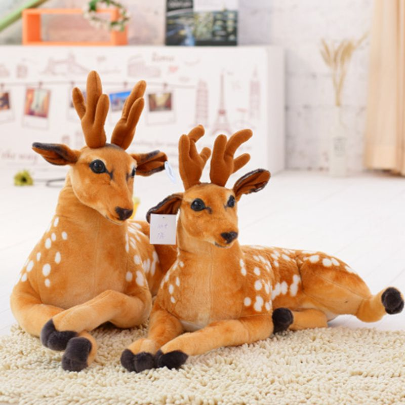 Nooer Simulation Plush Sika Deer Stuffed Toy Soft Deer Plush Doll For Kids Baby Children Birthday Christmas Gift Free Shipping mini kawaii plush stuffed animal cartoon kids toys for girls children baby birthday christmas gift angela rabbit metoo doll