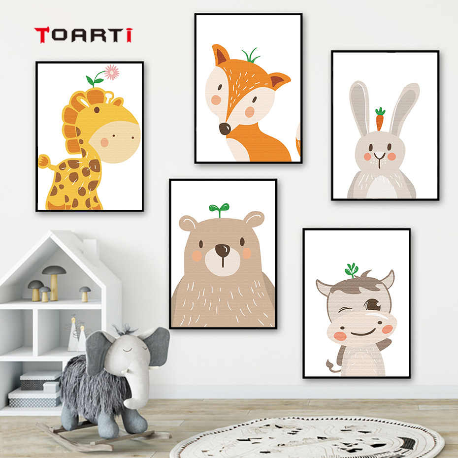 Cartoon Forest Animals Posters Prints Fox Bear Giraffe Canvas Painting On The Wall For Kids Nursery Room Home Decor Art Pictures