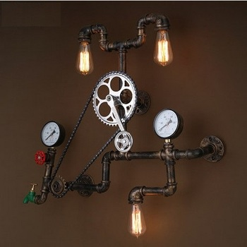 Loft Style Iron Water Pipe Lamp LED Edison Wall Sconce Retro Gear Wall Light Fixtures For Home Vintage Industrial Lighting 1