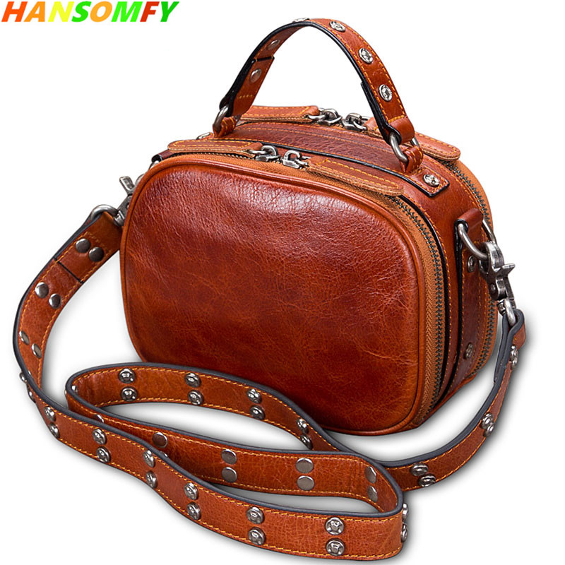 2018 Retro Genuine leather handmade Women handbag female Small square shoulder bag first layer cowhide rivet Messenger Bags fctossr 2018 new retro genuine leather women handbag first layer of leather shoulder bag handmade leather diagonal female bags