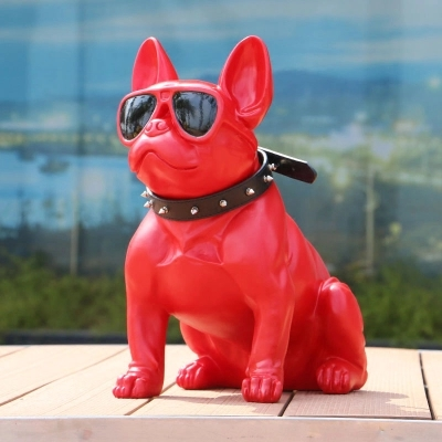 Cool Wearing Glasses Bulldog Figurine Home Decoration Large Dog Sculpture Pet Shop Lucky Opening Gifts Bulldog Decoration