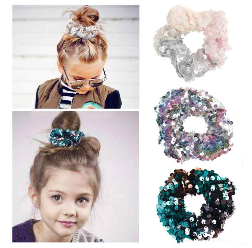 New Women Sequin Hair Band Scrunchies Elastic Rubber Holder Girls Reversible Sequin Mermaid Glitter Hair Ties  Hair Accessories