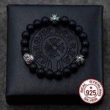 Бесплатная доставка реальные 925 серебряный браслет обсидиан строка ретро личности в стиле панк мужчин и женщин подарок вашего любовника 2017