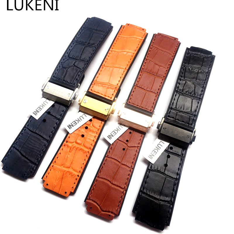 LUKENI 25mm*19mm Black Blue Brown Orange Natural Rubber Leather Watchband With Buckle Replace Hublot Big Bang Watch Strap
