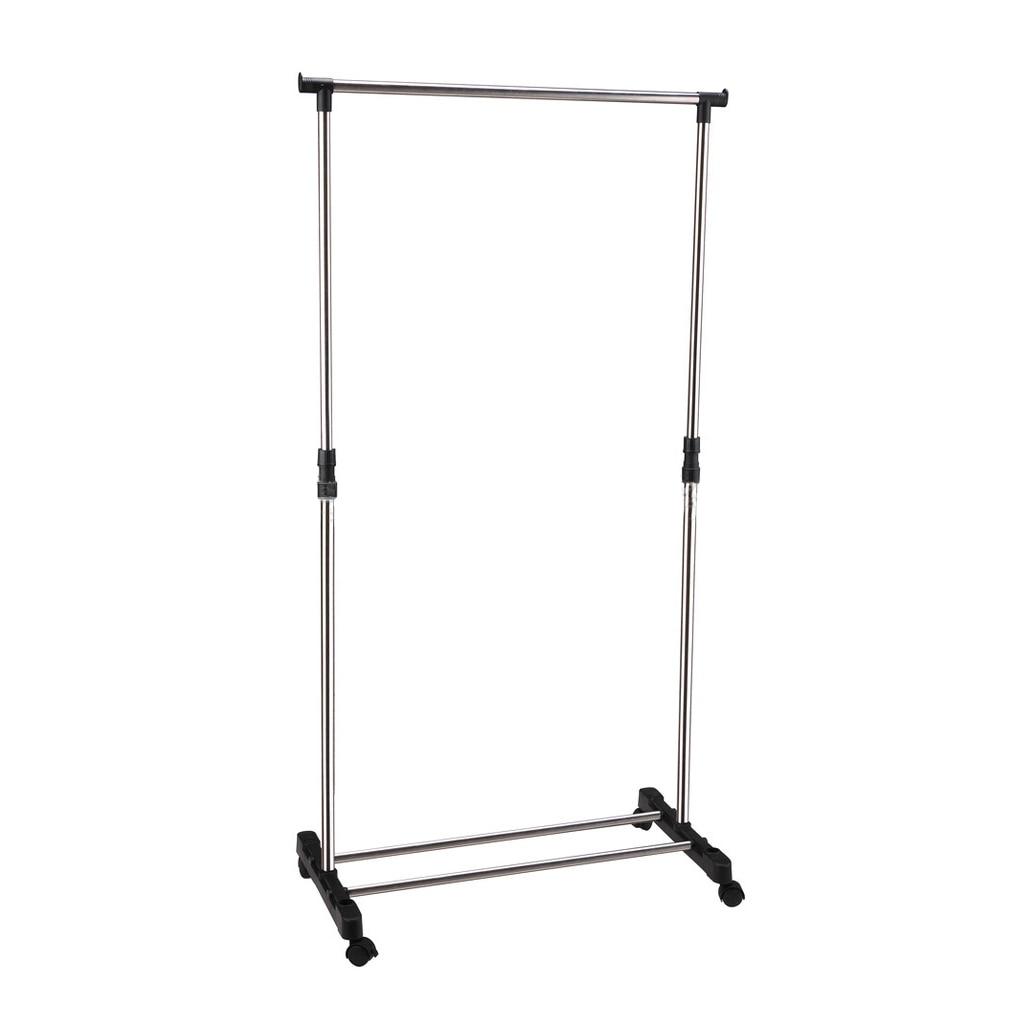 IKAYAA Adjustable Castor Wheels Rolling Garment Rack Rail Clothes Hanger AD Z7X7