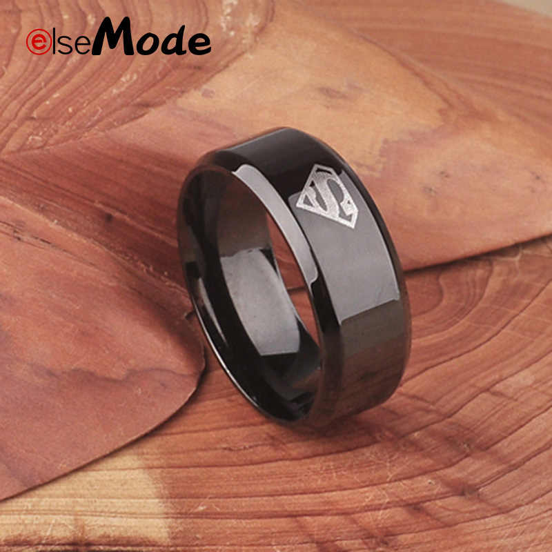 ELSEMODE Male Superman Hero Black 316 Stainless Steel Ring 8 mm For Sport Dad Men Boy Gift  Jewelry Drop Shipping