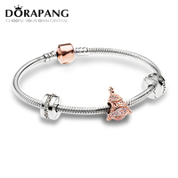 DORAPANG Newest Original 925 Sterling Silver Twinkling Christmas Tree Charm Fit Bracelets Rose Clear CZ Women
