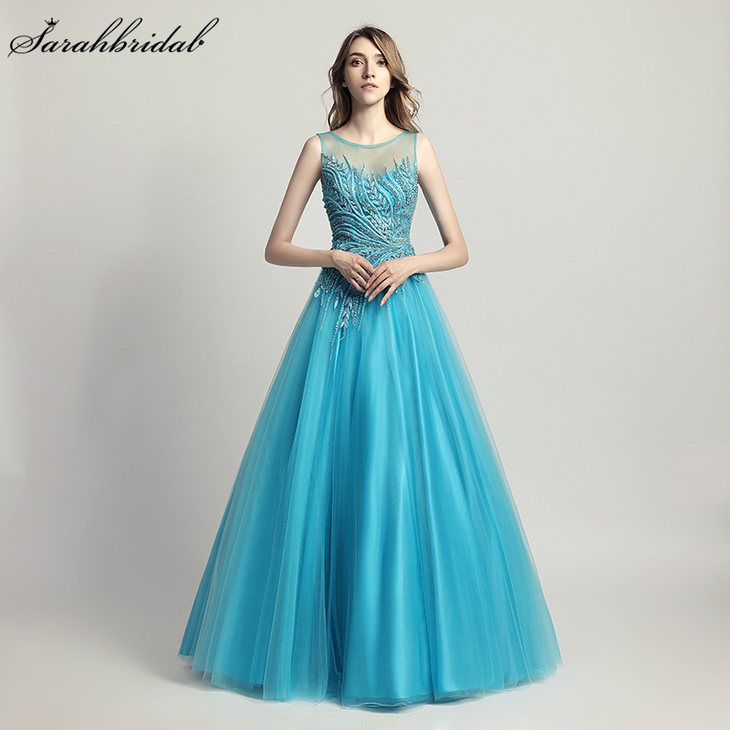 Robe De Soiree Newest Luxury Formal Styles Elegant Long Evening Dresses A Line Crystal Beading Gown Real Photos LSX425