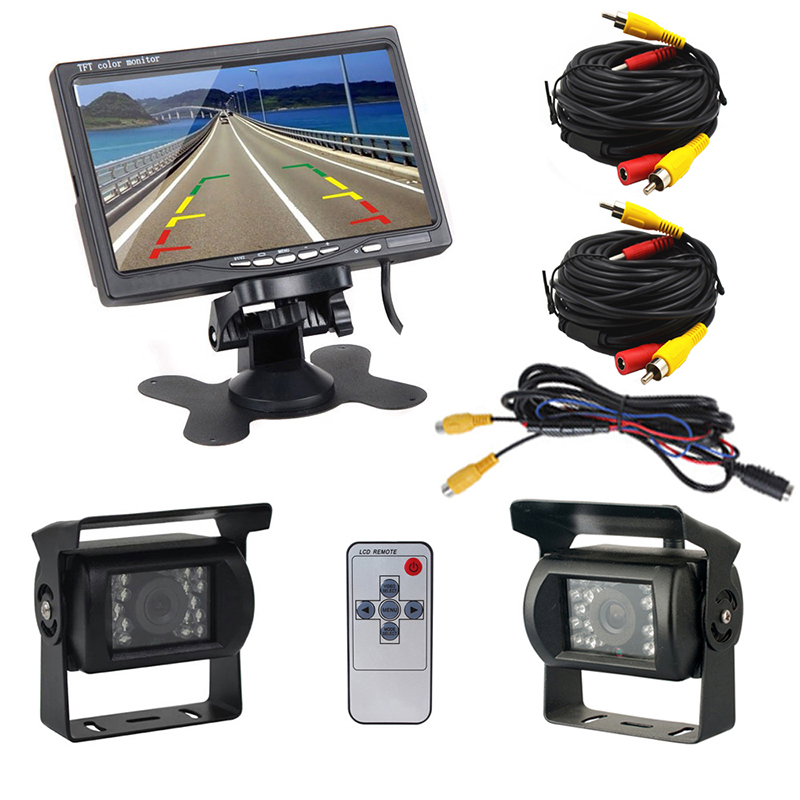 2018 Auto 7 Inch LCD Rear View Monitor Dual Backup Cameras for Bus RV 18 IR LED Night Vision Waterproof Reverse Camera Display dual backup camera and monitor kit for bus truck rv ir led night vision waterproof rearview camera 7 lcd rear view monitor