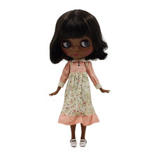 fortune days factory blyth doll super black skin tone darkest skin short black hair joint body 1/6 30cm BL950(China)
