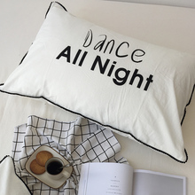 Pillow Cover Bedding For Couple Black White Printed Cotton Pillow Case Bedroom Sleep All Day Dance All Night 1 Pair