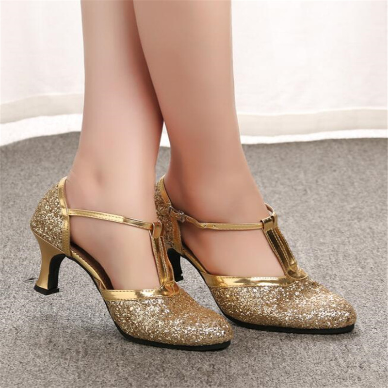 Golden Women's Shoes 2019 Women's Shallow Shoes Latin Dance Shoes High Heels Low With Women's Wedding Party Shoes Gold Silver