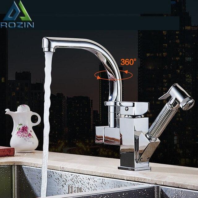ポリッシュクロームデュアルプルアウトキッチン水栓デッキシャワー噴霧器キッチンタップ温水と冷水パイプ