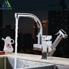 Cilalı krom çift borulu Pull Out mutfak musluk güverte üstü duş püskürtücü mutfak muslukları ile sıcak ve soğuk su boruları