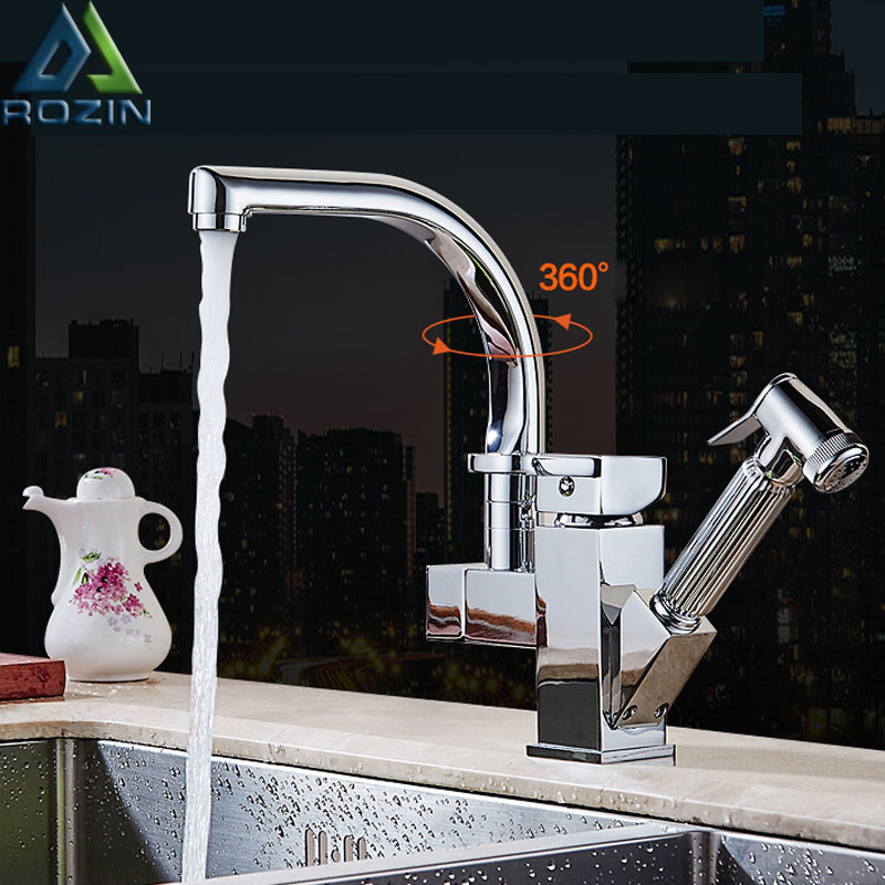 Polished Chrome Dual Spout Pull Out Kitchen Faucets Deck Mounted Shower Sprayer Kitchen Taps with Hot and Cold Water Pipes