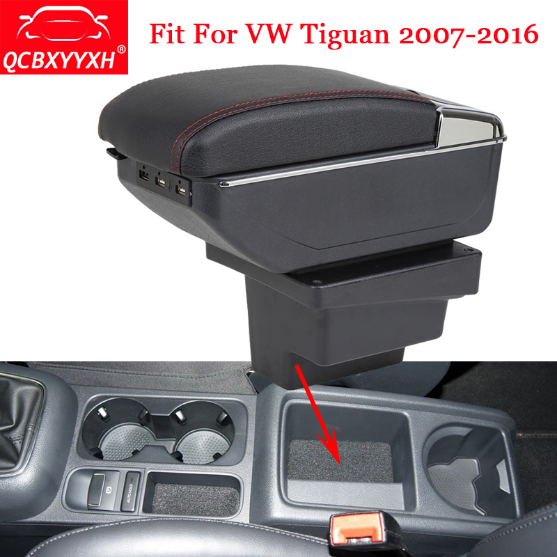 QCBXYYXH USB&ABS Car Armrest Box Center Console Storage Box Decoration Holder Case Auto Accessories For VW Tiguan 2007-2016 universal leather car armrest central store content storage box with cup holder center console armrests free shipping