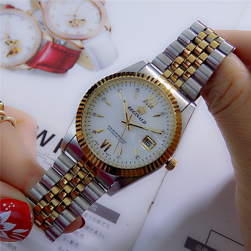 2019 Reginald Top Brand Men Dress Style Business Watch Steel Wristband Golden Quartz Valentine's Day Present For Man Woman Lover