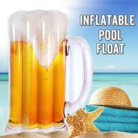 Beer Shaped Water Hammock Pool Lounger Float Inflatable Rafts Swimming Pool Air Lightweight Floating Swimming Pool Mat