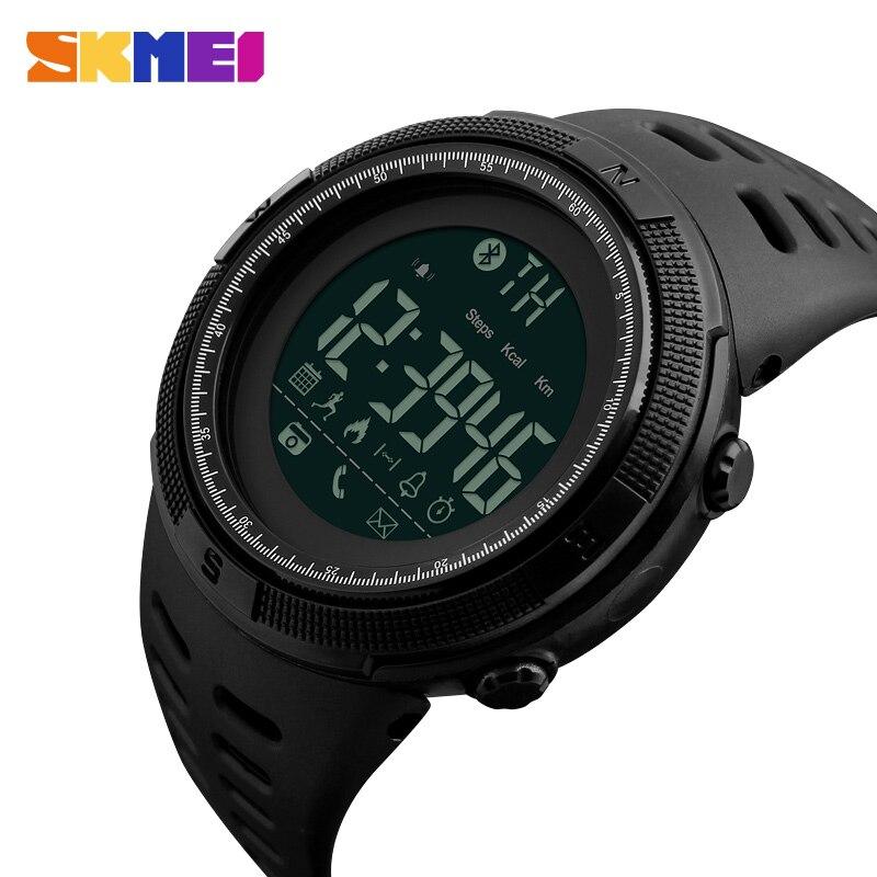 SKMEI montre connectée Hommes Chrono Calories 5Bar montres de sport imperméable à l'eau Hommes Appel Rappel Bluetooth montre digitale reloj hombre 1250
