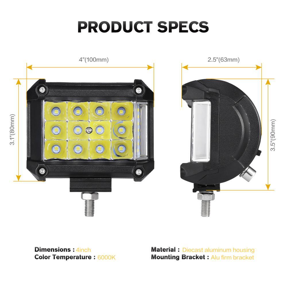 Partol 4Pcs 4 57W Work Light Tri-Row LED Light Bar Spot Flood Combo Beam Offroad 4WD 4x4 LED Bar for Pickup Camper Trailer 12V