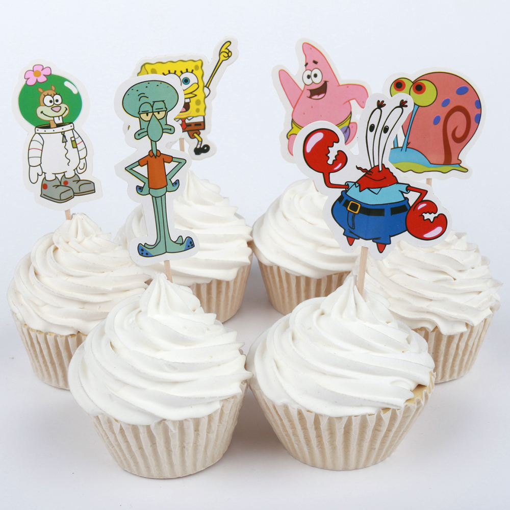 24pcs Cartoon SpongeBob Family Theme Party Supplies Cupcake Toppers ...