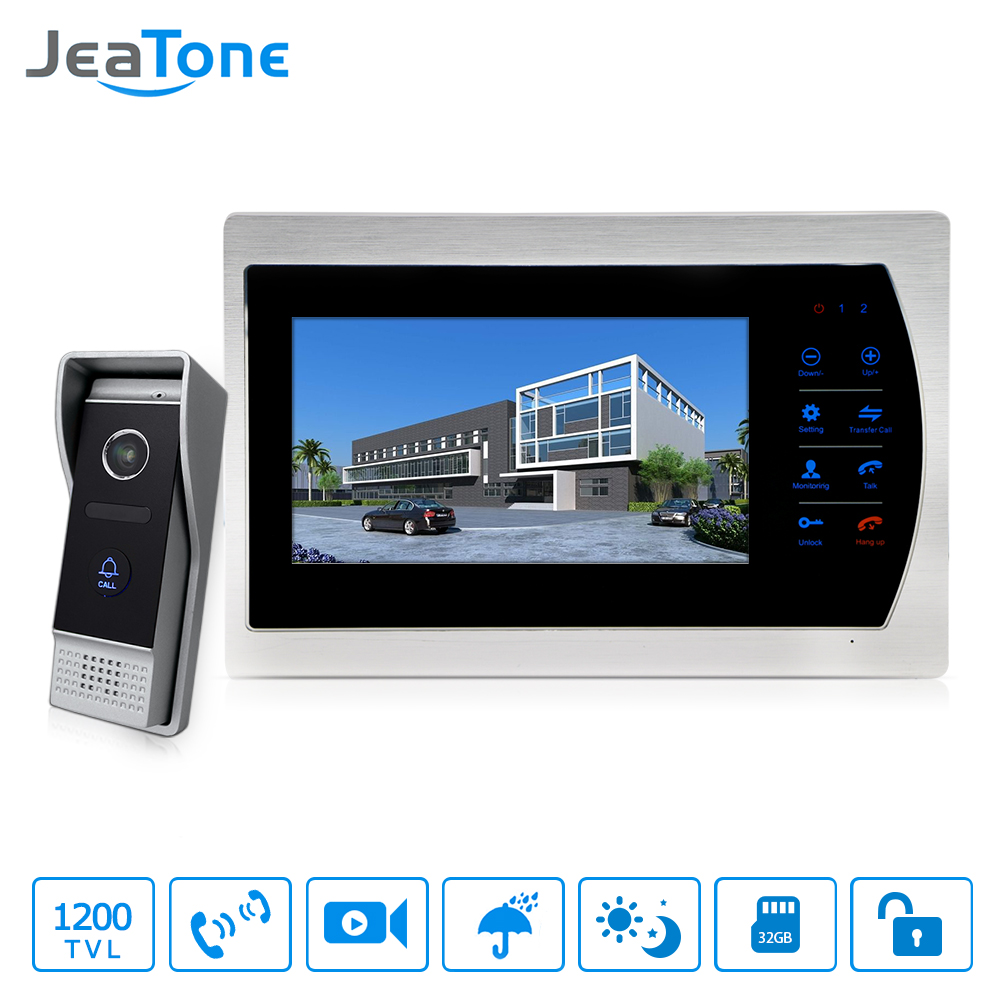 Jeatone 10 TFT Display wired Video doorbell Door Phone Intercom &3.7mm Lens Touch Key Outdoor Camera For Home Security jeatone 4 inch tft wired video door phone intercom doorbell home security camera system picture memory