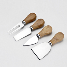 4Pcs Set Knives Bard Oak Bamboo Wood Handle Cheese Knife Slicer Kit Kitchen Cooking Tools Cheedse Cutter Useful Accessories