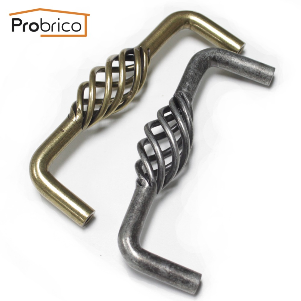 Probrico Kitchen Cabinet Handles  Iron Antique-Styled Bronze/Black 96mm CC 3.8 Furniture Antique Drawer Knobs Cupboard Pulls