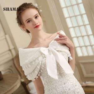 Image 3 - SHAMAI Women Faux Fur Winter Autumn Warm Bridal  Lace Wedding Wrap Stole Bolero Scarf Wedding party Cape