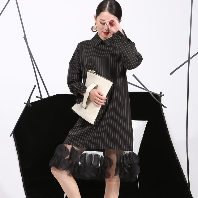 [soonyour] 2016 Spring Ladie Vertical Stripes Lapel Three-Dimensional Dress Stitching Yarn Women New Apparel wholesale 4L0051