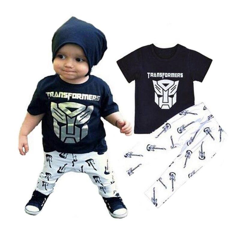 Keelorn Boys Clothing Set 2018 Summer Style Baby Boy Clothes Iron Man Cartoon T-shirt+Guitar Printed Pants 2pcs Suit Clothes