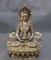 Китай Серебро Буддизм Голова Дракона amitayua Тибет статуя Будды латунь Joss
