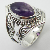 Silver Cab Amethysts HAMMERED Ring Size 7.75 Handcrafted Jewelry Unique Designed
