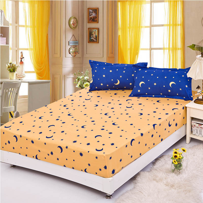 Home textile fitted sheet set 3pcs/set(one bed fitted sheet+two pillowcases) lemon bed cover solid mattress cover bed clothes 23