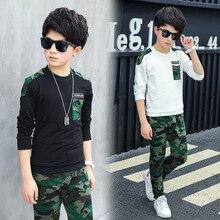 Boy Tracksuit Clothes set Kids Spring&Autumn Cotton School Uniform Sport camouflage Suit Boys Clothing Sets 4 6 8 10 12 14 year