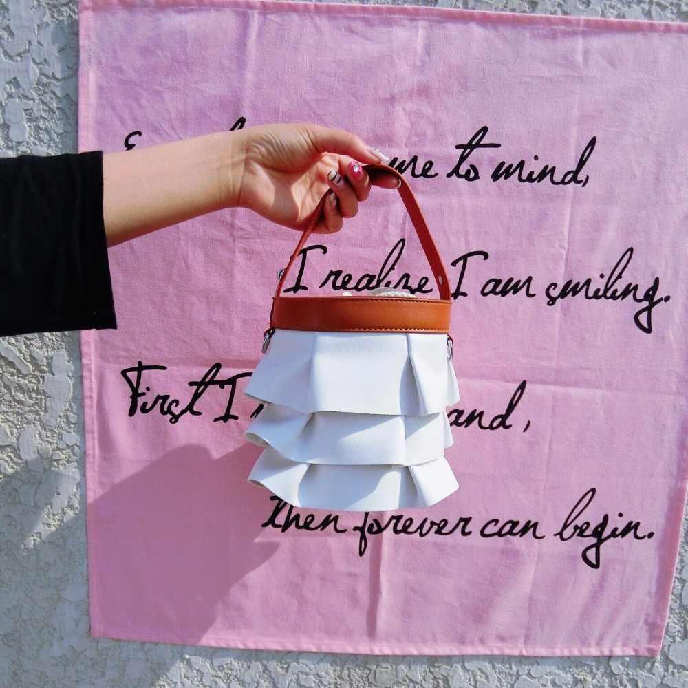 Projektant ciasto plisowana spódnica kobiet torba torebka wiadro pasek z łańcuchem na ramię modne torebki Crossbody wysokiej jakości PU skóra