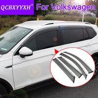 QCBXYYXH Car Styling 4pcs Lot Window Visors For VW Polo Tiguan Golf Sportsvan Touran Jetta Bora