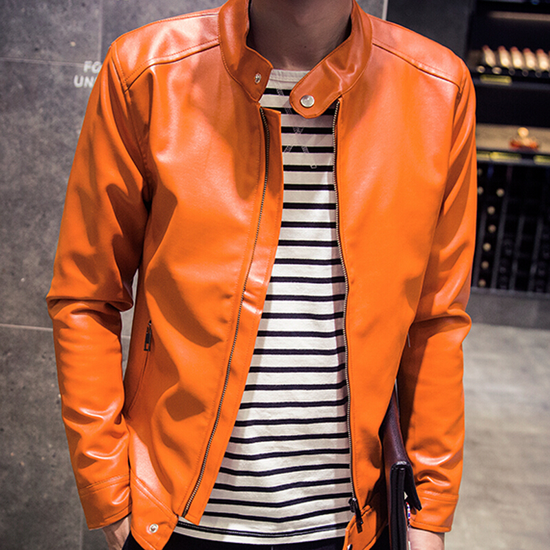 Simulation Leather Jacket Solid Collar Slim Locomotive Coat Men ...