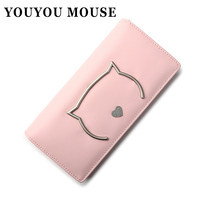 YOUYOU MOUSE New Korean Ladies Wallet Small Fresh Cute Cat Women Wallets Students 2 Fold Long