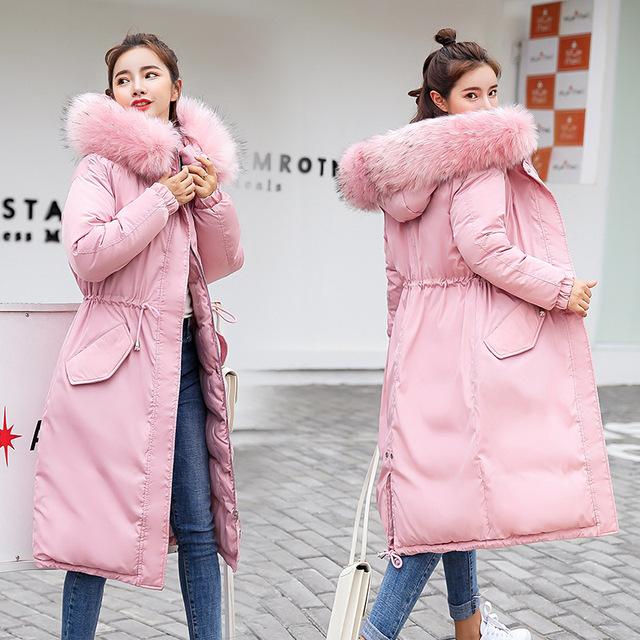 Elastyczny kołnierz futro z kapturem Zima w dół płaszcz kurtki długie ciepłe kobiety Casaco feminino Abrigos mujer Invierno 2018 Parkas Outwear 906