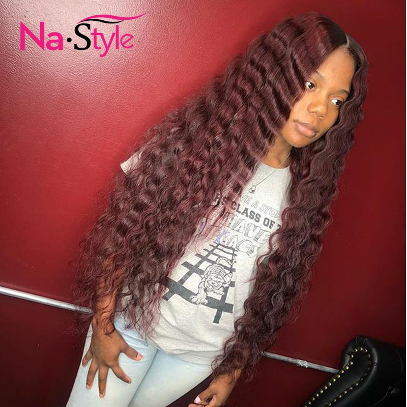 1b 99J Burgundy Human Hair Wigs For Black Women Red Lace Front Wigs Loose Deep Ombre