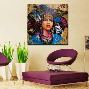 Граффити стены искусства плакат печать абстрактный афро девушка холст картина афро американские женщины картина для гостиной домашний дек...
