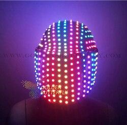 Шлем с led подсветкой полноцветный световой шлем с led подсветкой с 2017 несколько эффектов светящиеся вечерние DJ маска робота бизнес аксессуар...