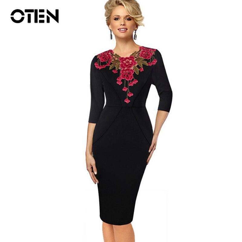 OTEN Womens Stylish Elegant Applique Embroidery Crochet V-neck Work Office Bodycon Female 3/4 Sleeve Sheath Party Dress Formal